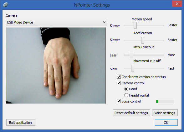 NPointer Settings dialog