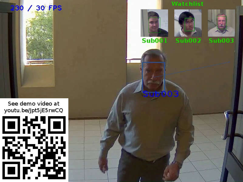 Real-time biometric face recognition and pedestrian/vehicle tracking SDK for surveillance systems and networks. Supports up to 10 cameras on one PC. Automatic identification against watch list, gender/emotions detection. See: youtu.be/Jpt5jE5rwCQ